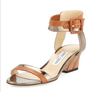 Jimmy Choo Mansy Leather Wedge Ankle Strap Sandals